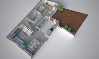 infografia de planta de vivienda en 3D